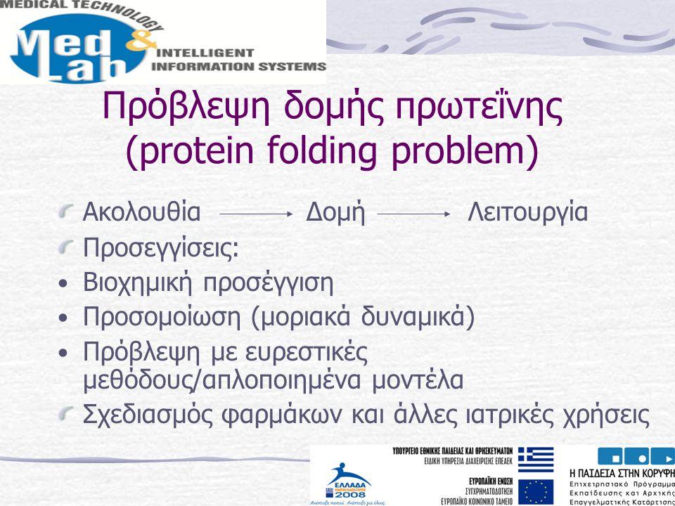 Πρόβλεψη δομής πρωτεΐνης (protein folding problem) Ακολουθία Δομή Λειτουργία Προσεγγίσεις: Βιοχημική προσέγγιση Προσομοίωση (μοριακά δυναμικά) Πρόβλεψ