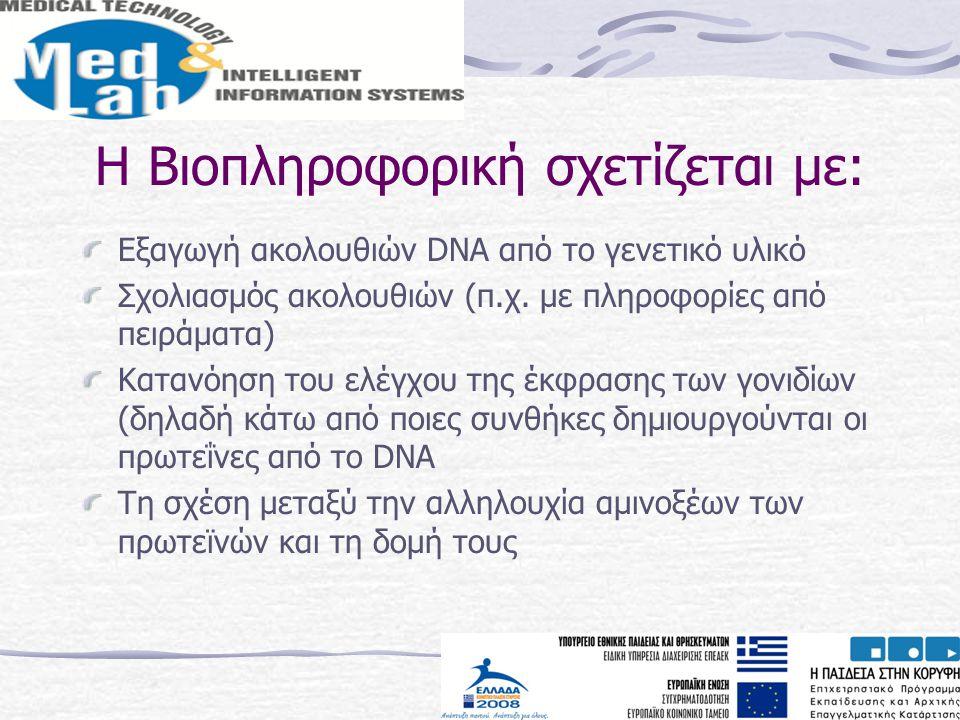 Η Βιοπληροφορική σχετίζεται με: Εξαγωγή ακολουθιών DNA από το γενετικό υλικό Σχολιασμός ακολουθιών (π.χ. με πληροφορίες από πειράματα) Κατανόηση του ε