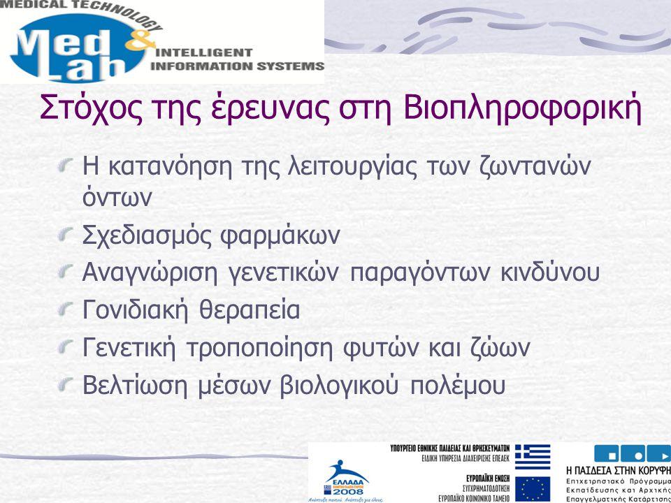 Στόχος της έρευνας στη Βιοπληροφορική Η κατανόηση της λειτουργίας των ζωντανών όντων Σχεδιασμός φαρμάκων Αναγνώριση γενετικών παραγόντων κινδύνου Γονι