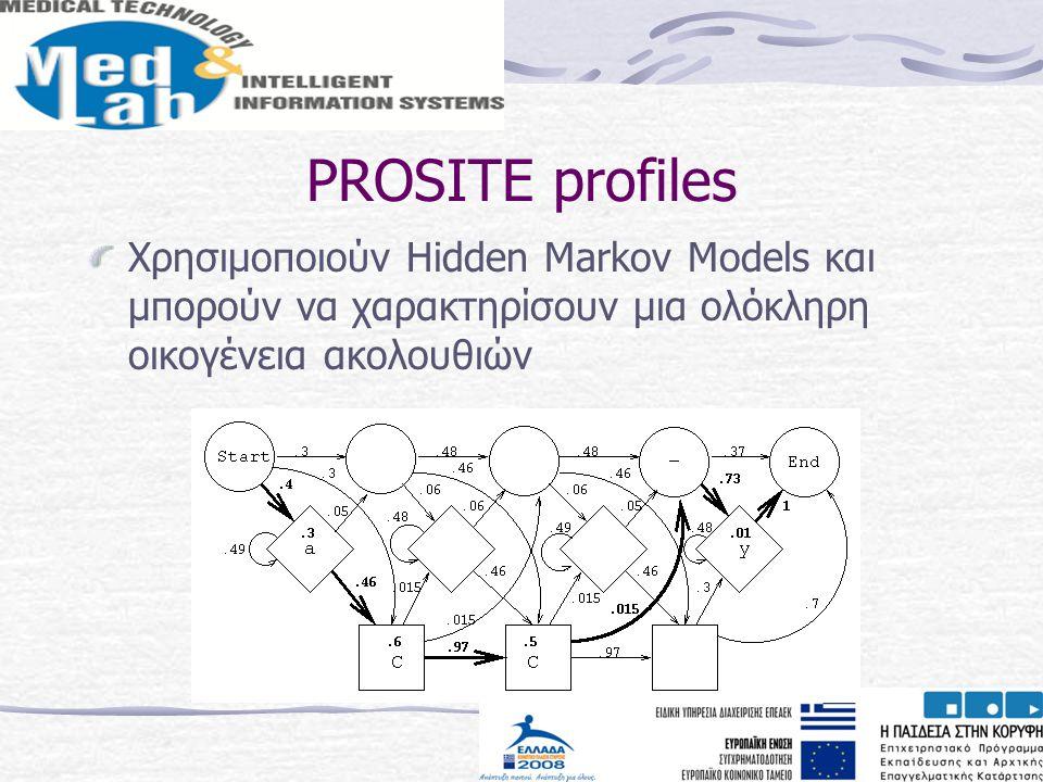 PROSITE profiles Χρησιμοποιούν Hidden Markov Models και μπορούν να χαρακτηρίσουν μια ολόκληρη οικογένεια ακολουθιών