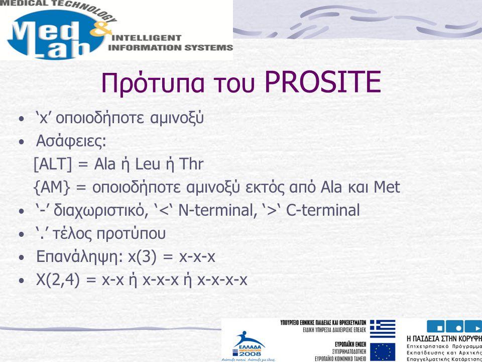 Πρότυπα του PROSITE 'x' οποιοδήποτε αμινοξύ Ασάφειες: [ALT] = Ala ή Leu ή Thr {AM} = οποιοδήποτε αμινοξύ εκτός από Αla και Met '-' διαχωριστικό, ' ' C