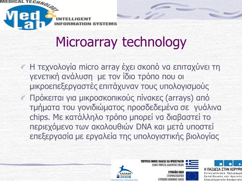 Microarray technology H τεχνολογία micro array έχει σκοπό να επιταχύνει τη γενετική ανάλυση με τον ίδιο τρόπο που οι μικροεπεξεργαστές επιτάχυναν τους