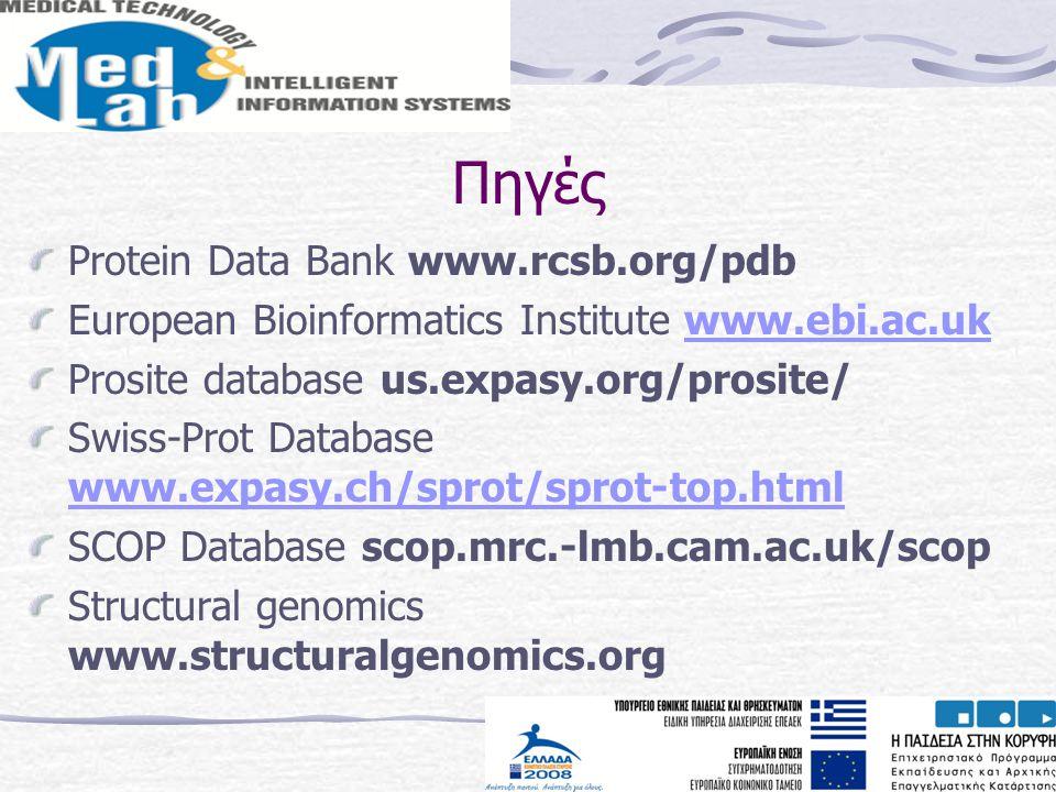 Πηγές Protein Data Bank www.rcsb.org/pdb European Bioinformatics Institute www.ebi.ac.ukwww.ebi.ac.uk Prosite database us.expasy.org/prosite/ Swiss-Pr