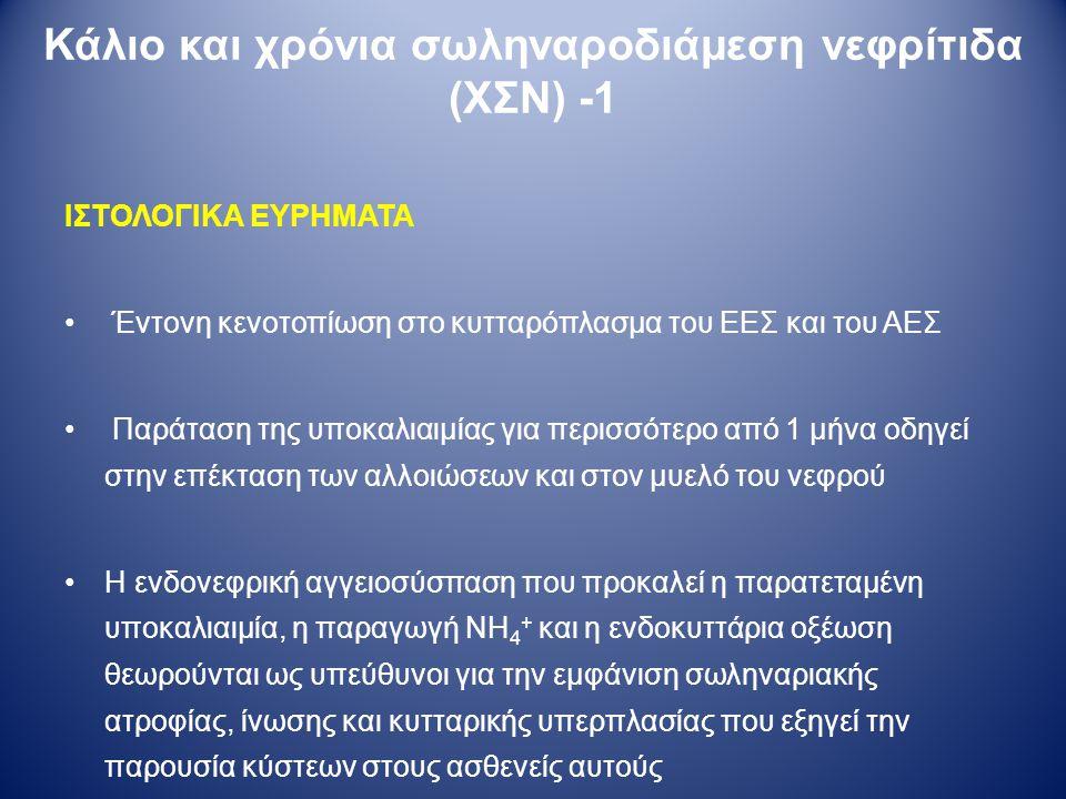 ΙΣΤΟΛΟΓΙΚΑ ΕΥΡΗΜΑΤΑ Έντονη κενοτοπίωση στο κυτταρόπλασμα του ΕΕΣ και του ΑΕΣ Παράταση της υποκαλιαιμίας για περισσότερο από 1 μήνα οδηγεί στην επέκτασ