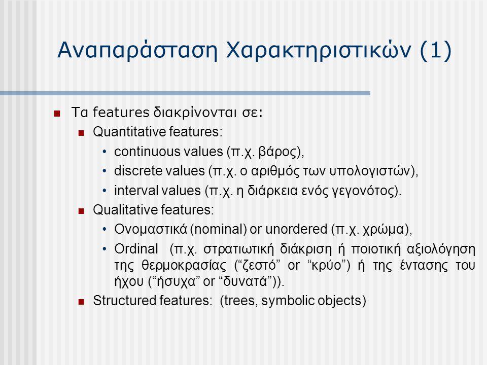Αναπαράσταση Χαρακτηριστικών (1) Τα features διακρίνονται σε: Quantitative features: continuous values (π.χ. βάρος), discrete values (π.χ. ο αριθμός τ