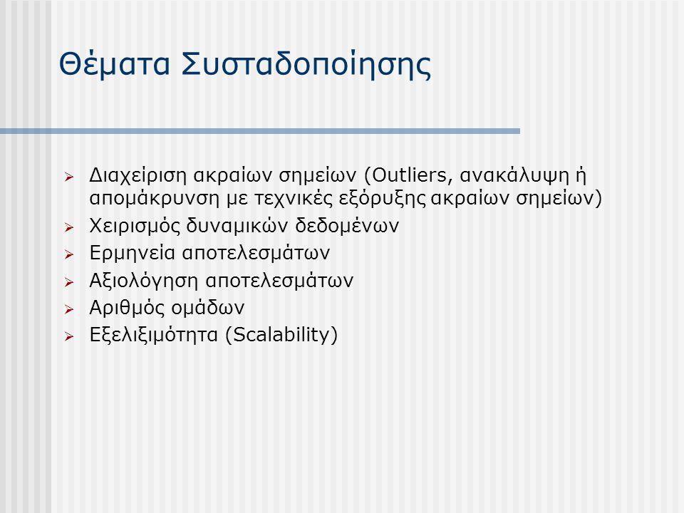 Θέματα Συσταδοποίησης  Διαχείριση ακραίων σημείων (Outliers, ανακάλυψη ή απομάκρυνση με τεχνικές εξόρυξης ακραίων σημείων)  Χειρισμός δυναμικών δεδο