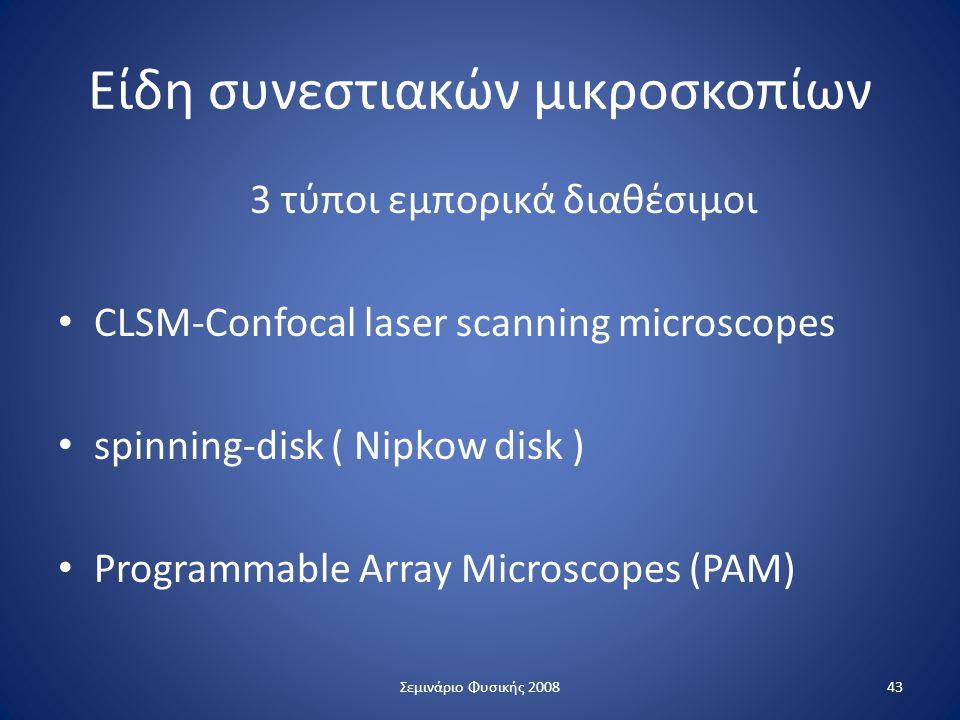 Είδη συνεστιακών μικροσκοπίων 3 τύποι εμπορικά διαθέσιμοι CLSM-Confocal laser scanning microscopes spinning-disk ( Nipkow disk ) Programmable Array Mi
