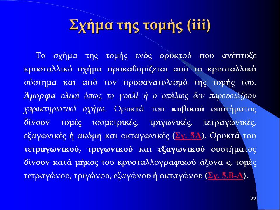 22 Σχήμα της τομής (iii) Το σχήμα της τομής ενός ορυκτού που ανέπτυξε κρυσταλλικό σχήμα προκαθορίζεται από το κρυσταλλικό σύστημα και από τον προσανατ