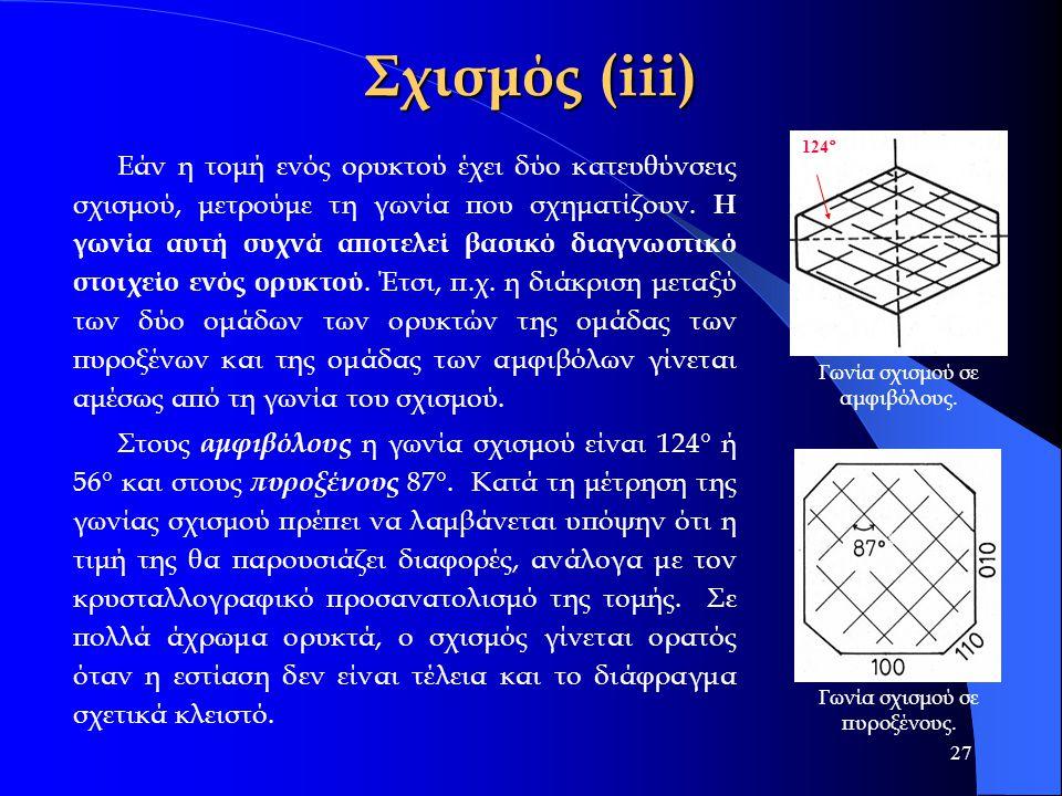 27 Σχισμός (iii) Εάν η τομή ενός ορυκτού έχει δύο κατευθύνσεις σχισμού, μετρούμε τη γωνία που σχηματίζουν. Η γωνία αυτή συχνά αποτελεί βασικό διαγνωστ
