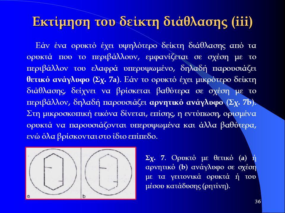 36 Εκτίμηση του δείκτη διάθλασης (iii) Εάν ένα ορυκτό έχει υψηλότερο δείκτη διάθλασης από τα ορυκτά που το περιβάλλουν, εμφανίζεται σε σχέση με το περ