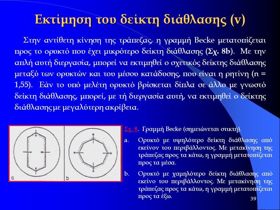 39 Εκτίμηση του δείκτη διάθλασης (v) Στην αντίθετη κίνηση της τράπεζας, η γραμμή Becke μετατοπίζεται προς το ορυκτό που έχει μικρότερο δείκτη διάθλαση