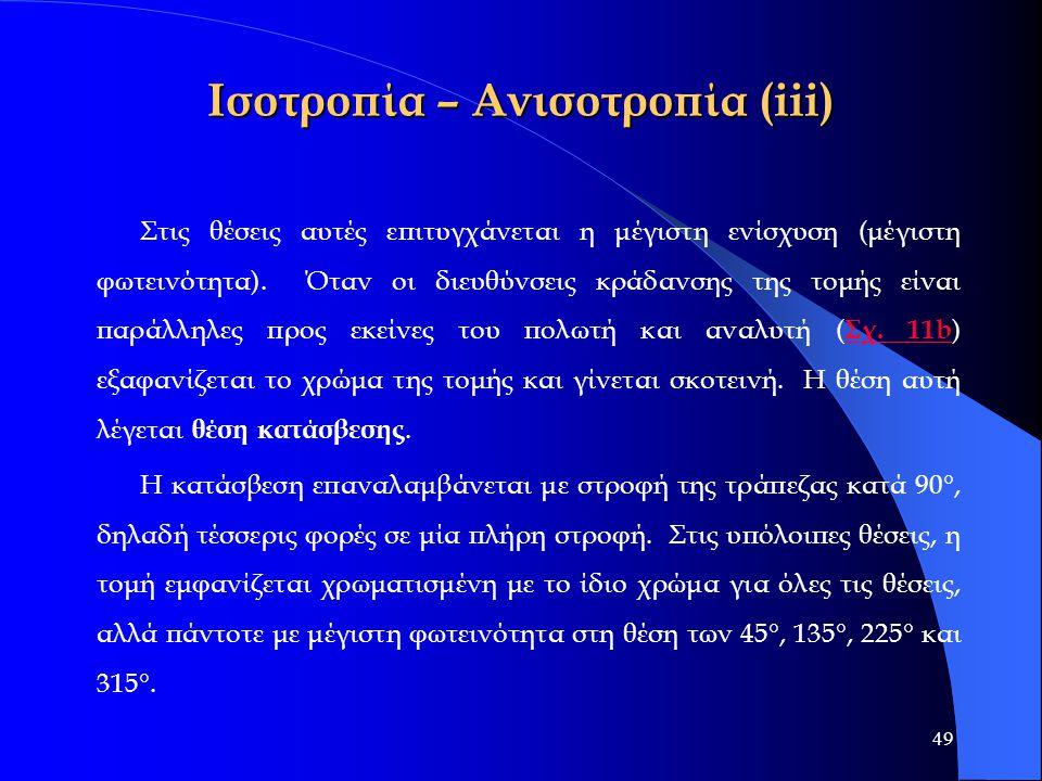 49 Ισοτροπία – Ανισοτροπία (iii) Στις θέσεις αυτές επιτυγχάνεται η μέγιστη ενίσχυση (μέγιστη φωτεινότητα). Όταν οι διευθύνσεις κράδανσης της τομής είν