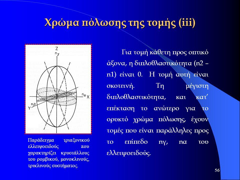 56 Χρώμα πόλωσης της τομής (iii) Για τομή κάθετη προς οπτικό άξονα, η διπλοθλαστικότητα (n2 – n1) είναι 0. Η τομή αυτή είναι σκοτεινή. Τη μέγιστη διπλ