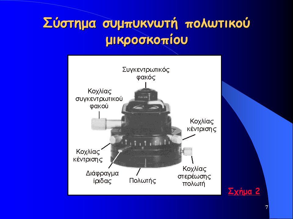 48 Ισοτροπία – Ανισοτροπία (ii) Εάν παρεμβληθεί μεταξύ διασταυρωμένων Nicols τομή ενός διαφανούς ανισότροπου ορυκτού, το φως που θα διέλθει από τον πολωτή στη λεπτή τομή θα υποστεί διπλή διάθλαση.