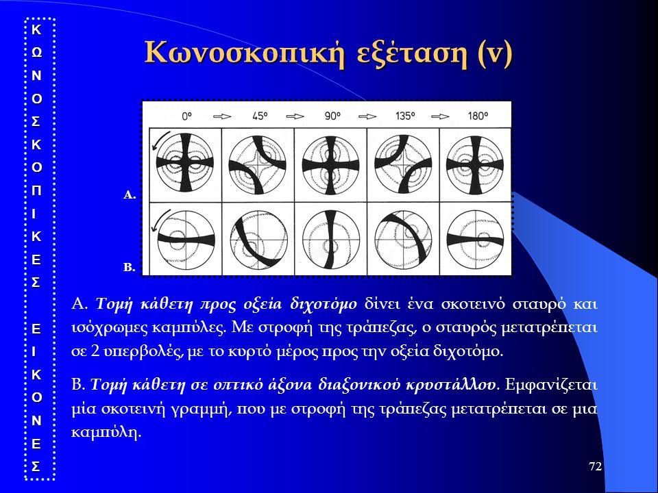 72 Κωνοσκοπική εξέταση (v) ΚΩΝΟΣΚΟΠΙΚΕΣΕΙΚΟΝΕΣ Α. Β. Α. Τομή κάθετη προς οξεία διχοτόμο δίνει ένα σκοτεινό σταυρό και ισόχρωμες καμπύλες. Με στροφή τη