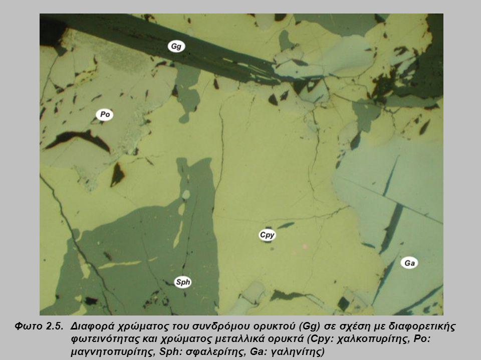 Φωτο 2.5. Διαφορά χρώματος του συνδρόμου ορυκτού (Gg) σε σχέση με διαφορετικής φωτεινότητας και χρώματος μεταλλικά ορυκτά (Cpy: χαλκοπυρίτης, Po: μαγν