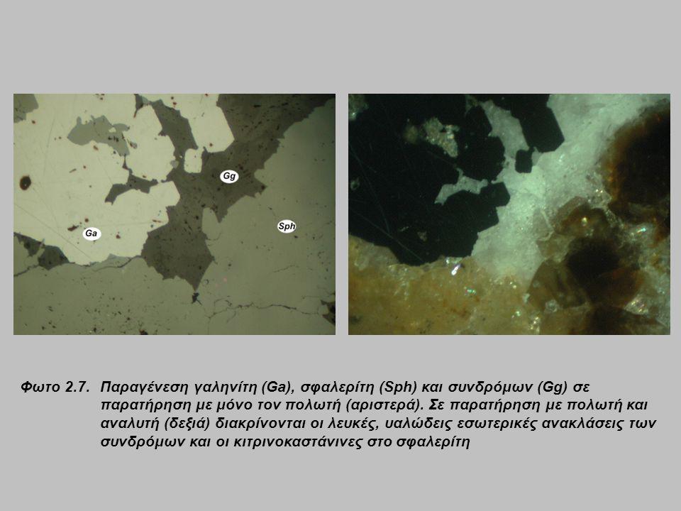 Φωτο 2.7. Παραγένεση γαληνίτη (Ga), σφαλερίτη (Sph) και συνδρόμων (Gg) σε παρατήρηση με μόνο τον πολωτή (αριστερά). Σε παρατήρηση με πολωτή και αναλυτ