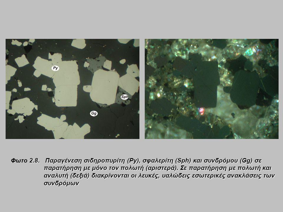 2.8. Παραγένεση σιδηροπυρίτη (Py), σφαλερίτη (Sph) και συνδρόμου (Gg) σε παρατήρηση με μόνο τον πολωτή (αριστερά). Σε παρατήρηση με πολωτή και αναλυτή