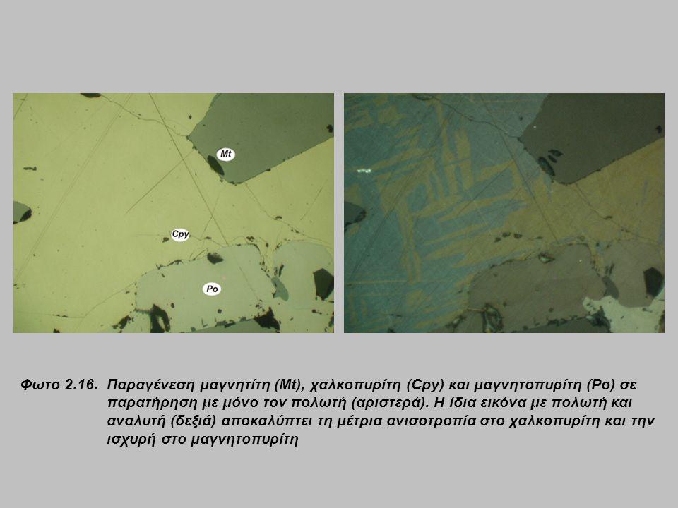 Φωτο 2.16. Παραγένεση μαγνητίτη (Mt), χαλκοπυρίτη (Cpy) και μαγνητοπυρίτη (Po) σε παρατήρηση με μόνο τον πολωτή (αριστερά). Η ίδια εικόνα με πολωτή κα