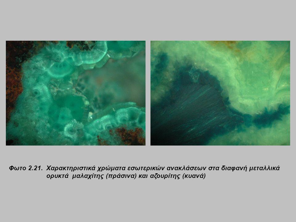 Φωτο 2.21. Χαρακτηριστικά χρώματα εσωτερικών ανακλάσεων στα διαφανή μεταλλικά ορυκτά μαλαχίτης (πράσινα) και αζουρίτης (κυανά)
