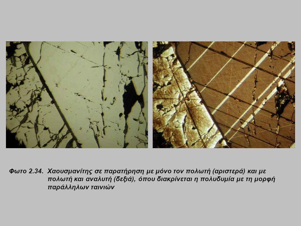 Φωτο 2.34. Χαουσμανίτης σε παρατήρηση με μόνο τον πολωτή (αριστερά) και με πολωτή και αναλυτή (δεξιά), όπου διακρίνεται η πολυδυμία με τη μορφή παράλλ