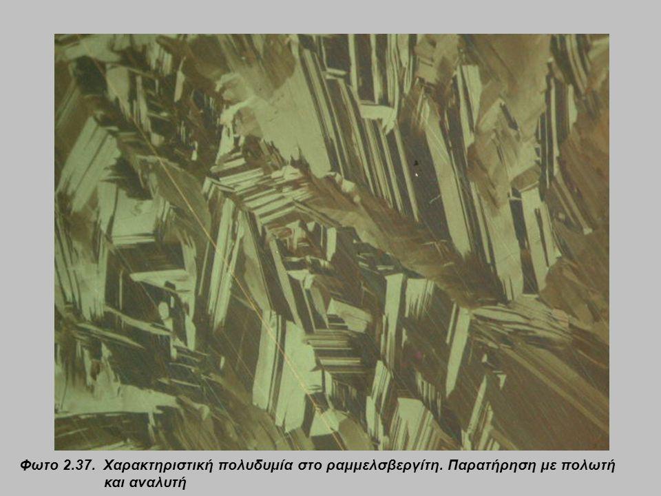 Φωτο 2.37. Χαρακτηριστική πολυδυμία στο ραμμελσβεργίτη. Παρατήρηση με πολωτή και αναλυτή