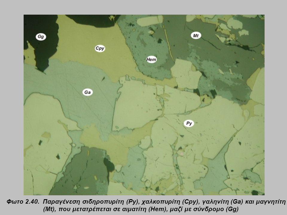 Φωτο 2.40. Παραγένεση σιδηροπυρίτη (Py), χαλκοπυρίτη (Cpy), γαληνίτη (Ga) και μαγνητίτη (Mt), που μετατρέπεται σε αιματίτη (Hem), μαζί με σύνδρομο (Gg