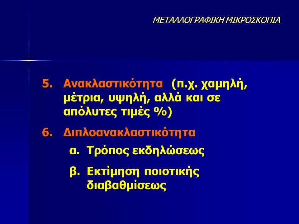5.Ανακλαστικότητα (π.χ. χαμηλή, μέτρια, υψηλή, αλλά και σε απόλυτες τιμές %) 6.Διπλοανακλαστικότητα α.Τρόπος εκδηλώσεως β.Εκτίμηση ποιοτικής διαβαθμίσ