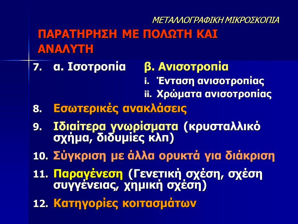 7. α. Ισοτροπία β. Ανισοτροπία i. Ένταση ανισοτροπίας ii. Χρώματα ανισοτροπίας 8. Εσωτερικές ανακλάσεις 9. Ιδιαίτερα γνωρίσματα (κρυσταλλικό σχήμα, δι