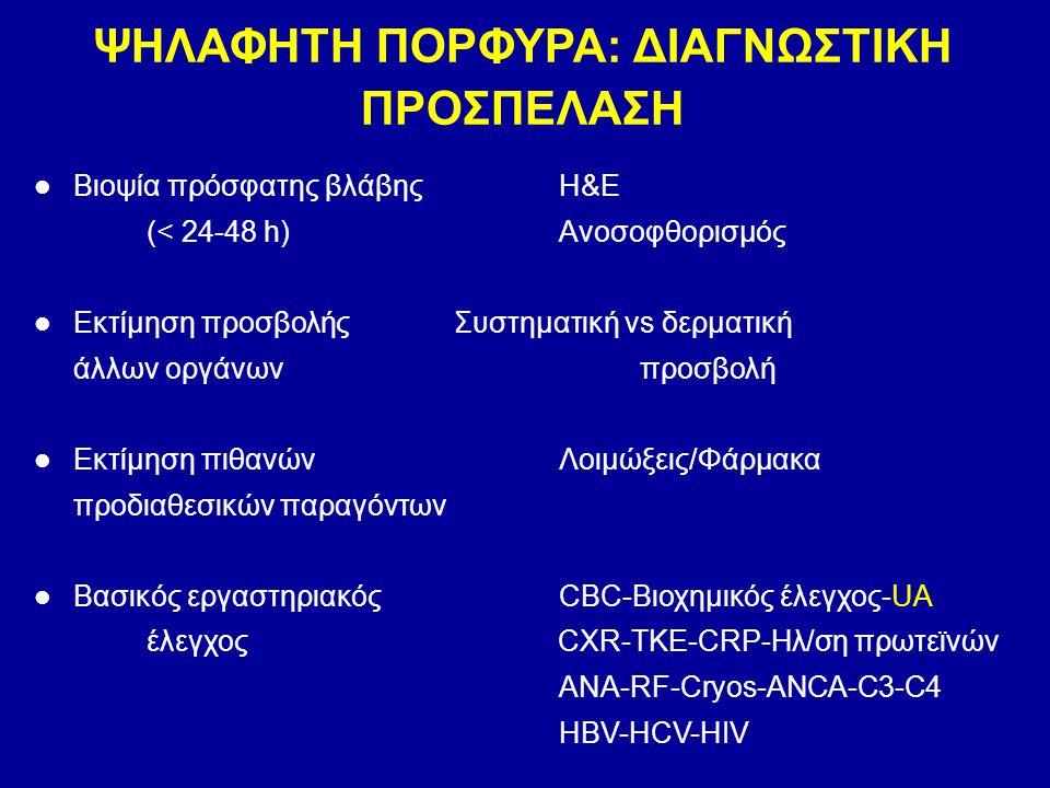 Βιοψία πρόσφατης βλάβηςΗ&E (< 24-48 h) Ανοσοφθορισμός Εκτίμηση προσβολήςΣυστηματική vs δερματική άλλων οργάνων προσβολή Εκτίμηση πιθανών Λοιμώξεις/Φάρ