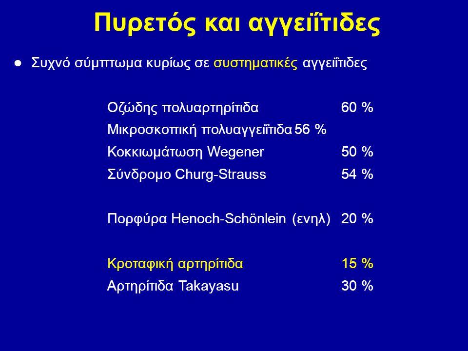 Πυρετός και αγγειΐτιδες Συχνό σύμπτωμα κυρίως σε συστηματικές αγγειΐτιδες Οζώδης πολυαρτηρίτιδα60 % Μικροσκοπική πολυαγγειΐτιδα56 % Κοκκιωμάτωση Wegen