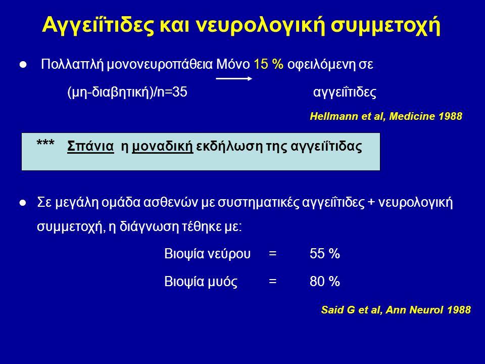 Πολλαπλή μονονευροπάθεια Μόνο 15 % οφειλόμενη σε (μη-διαβητική)/n=35 αγγειΐτιδες Hellmann et al, Medicine 1988 *** Σπάνια η μοναδική εκδήλωση της αγγε