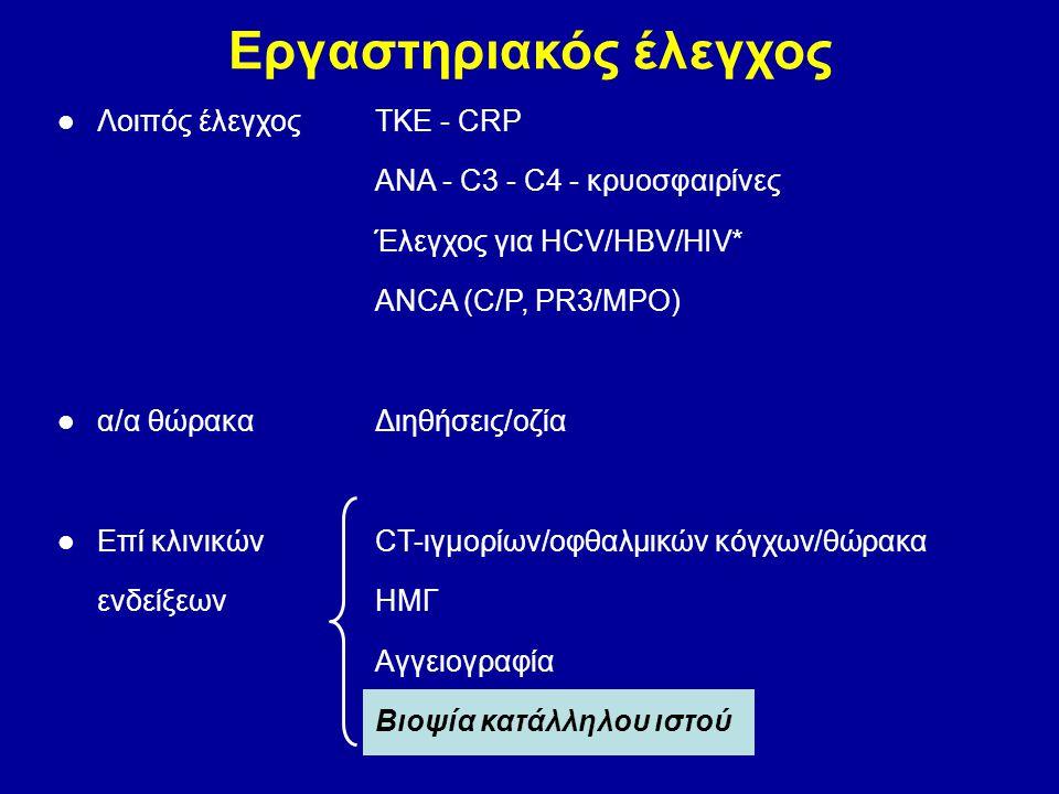 Εργαστηριακός έλεγχος Λοιπός έλεγχοςΤΚΕ - CRP ANA - C3 - C4 - κρυοσφαιρίνες Έλεγχος για HCV/HBV/HIV* ANCA (C/P, PR3/MPO) α/α θώρακαΔιηθήσεις/οζία Επί