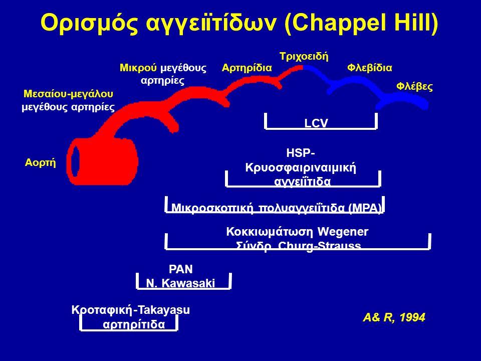 Ορισμόςαγγειïτίδων (ChappelHill) PAN Ν. Kawasaki Κροταφική-Takayasu αρτηρίτιδα A& R, 1994 Μικρούμεγέθους αρτηρίες Αρτηρίδια Τριχοειδή Φλεβίδια Φλέβες