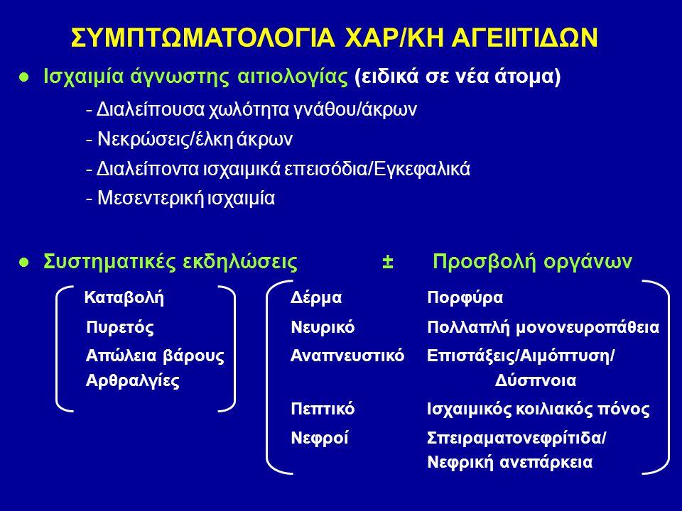 Ισχαιμία άγνωστης αιτιολογίας (ειδικά σε νέα άτομα) - Διαλείπουσα χωλότητα γνάθου/άκρων - Νεκρώσεις/έλκη άκρων - Διαλείποντα ισχαιμικά επεισόδια/Εγκεφ