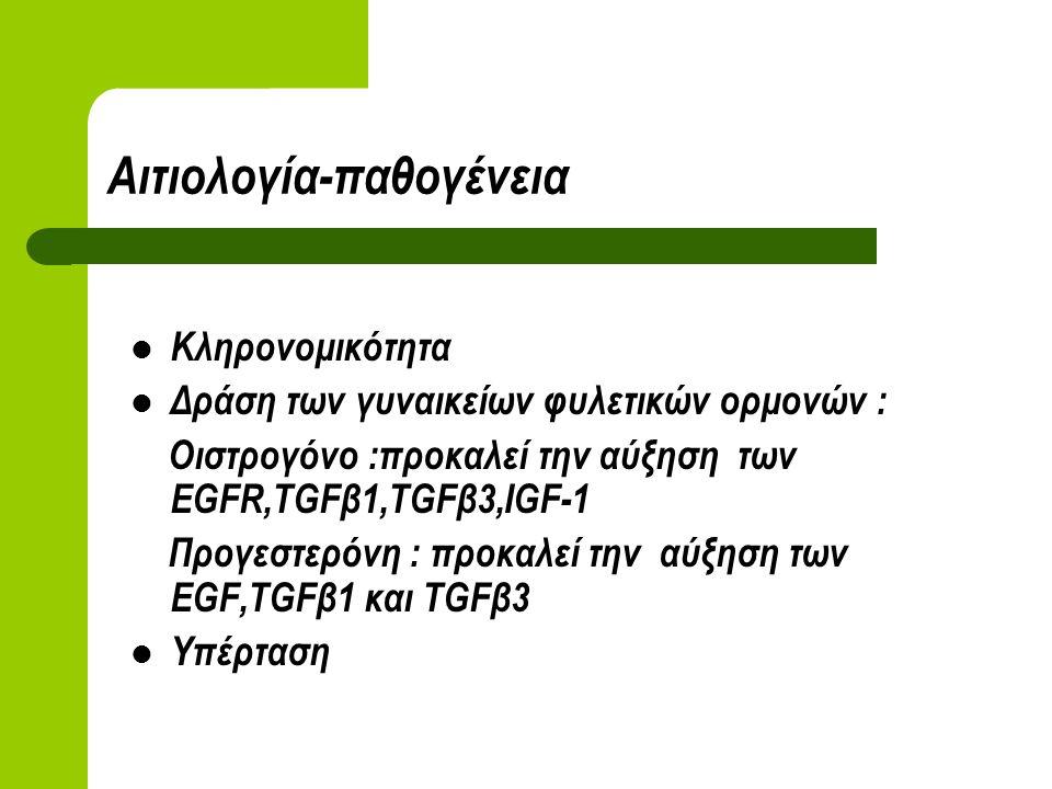 Αιτιολογία-παθογένεια Κληρονομικότητα Δράση των γυναικείων φυλετικών ορμονών : Οιστρογόνο :προκαλεί την αύξηση των EGFR,TGFβ1,TGFβ3,IGF-1 Προγεστερόνη : προκαλεί την αύξηση των EGF,TGFβ1 και TGFβ3 Υπέρταση