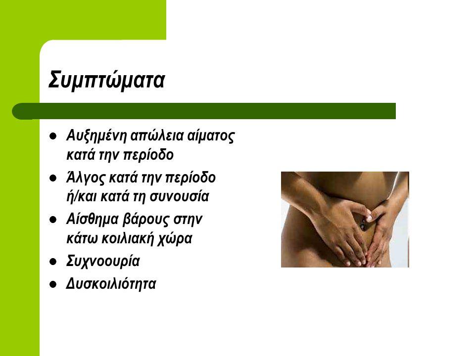 Συμπτώματα Αυξημένη απώλεια αίματος κατά την περίοδο Άλγος κατά την περίοδο ή/και κατά τη συνουσία Αίσθημα βάρους στην κάτω κοιλιακή χώρα Συχνοουρία Δυσκοιλιότητα