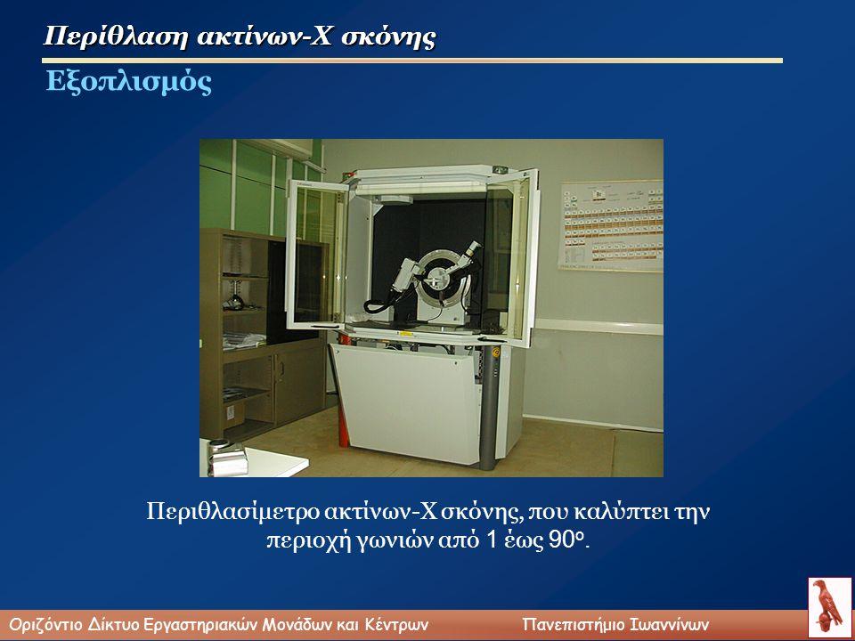 Περίθλαση ακτίνων-Χ σκόνης Εξοπλισμός Περιθλασίμετρο ακτίνων-Χ σκόνης, που καλύπτει την περιοχή γωνιών από 1 έως 90 ο.