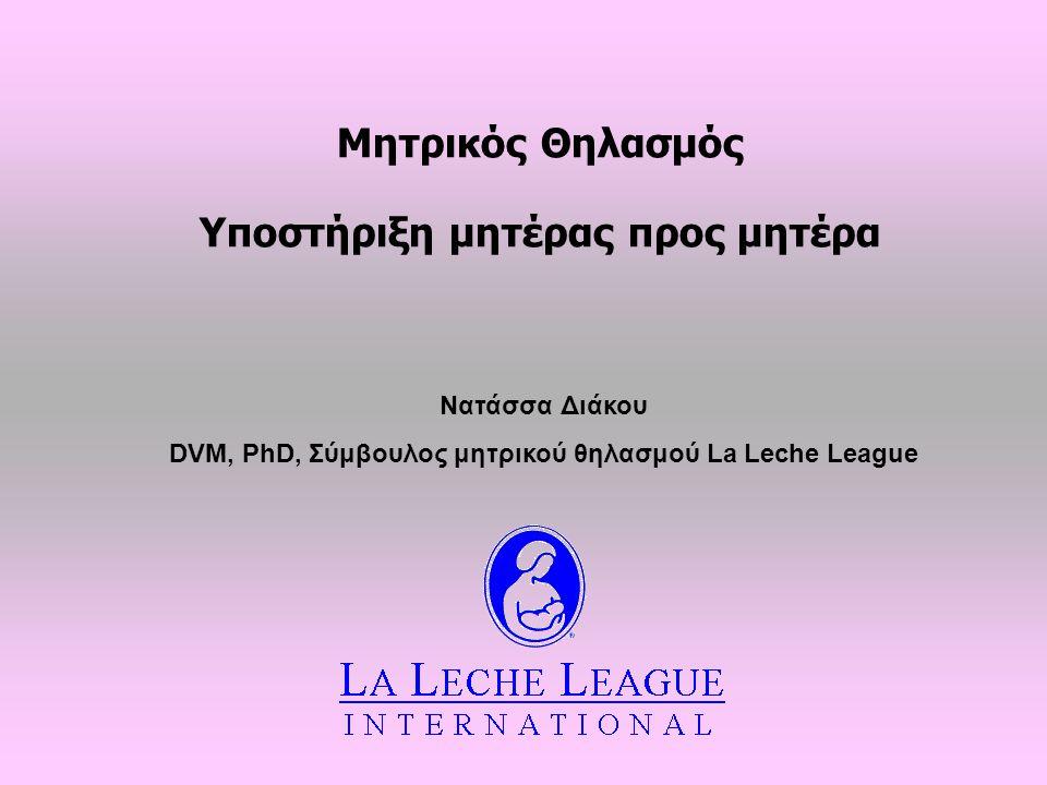Μητρικός Θηλασμός Υποστήριξη μητέρας προς μητέρα Νατάσσα Διάκου DVM, PhD, Σύμβουλος μητρικού θηλασμού La Leche League