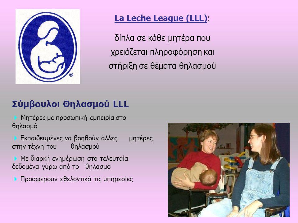 La Leche League (LLL): δίπλα σε κάθε μητέρα που χρειάζεται πληροφόρηση και στήριξη σε θέματα θηλασμού Σύμβουλοι Θηλασμού LLL  Μητέρες με προσωπική εμπειρία στο θηλασμό  Εκπαιδευμένες να βοηθούν άλλες μητέρες στην τέχνη του θηλασμού  Με διαρκή ενημέρωση στα τελευταία δεδομένα γύρω από το θηλασμό  Προσφέρουν εθελοντικά τις υπηρεσίες