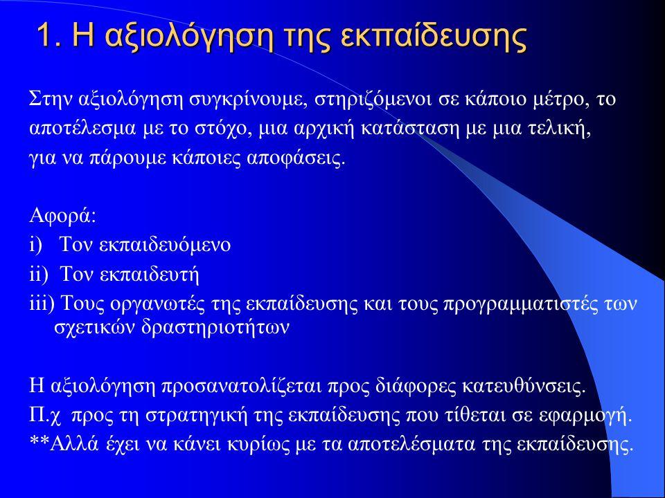 ΕΝΟΤΗΤΕΣ 1. Η αξιολόγηση της εκπαίδευσης 2. Μετά την εκπαίδευση, η εφαρμογή 3.