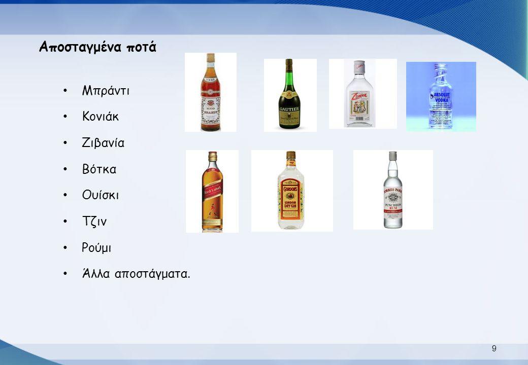 Αποσταγμένα ποτά Μπράντι Κονιάκ Ζιβανία Βότκα Ουίσκι Τζιν Ρούμι Άλλα αποστάγματα. 9