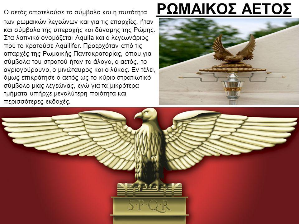 ΡΩΜΑΙΚΟΣ ΑΕΤΟΣ Ο αετός αποτελούσε το σύμβολο και η ταυτότητα των ρωμαικών λεγεώνων και για τις επαρχίες, ήταν και σύμβολο της υπεροχής και δύναμης της