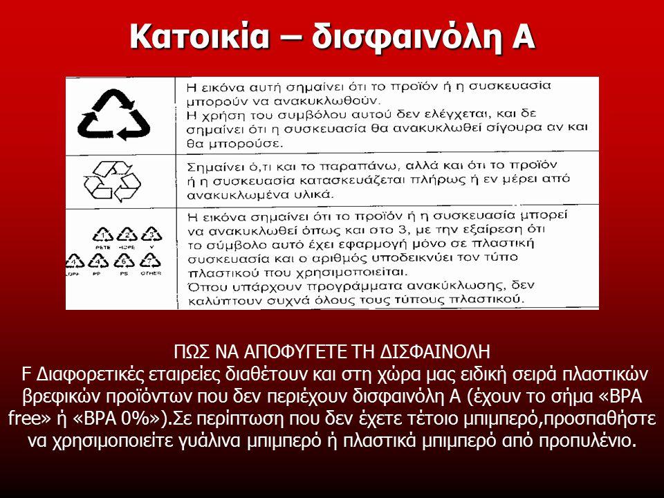 ΠΩΣ ΝΑ ΑΠΟΦΥΓΕΤΕ ΤΗ ΔΙΣΦΑΙΝΟΛΗ F Διαφορετικές εταιρείες διαθέτουν και στη χώρα μας ειδική σειρά πλαστικών βρεφικών προϊόντων που δεν περιέχουν δισφαινόλη Α (έχουν το σήμα «ΒΡΑ free» ή «ΒΡΑ 0%»).Σε περίπτωση που δεν έχετε τέτοιο μπιμπερό,προσπαθήστε να χρησιμοποιείτε γυάλινα μπιμπερό ή πλαστικά μπιμπερό από προπυλένιο.