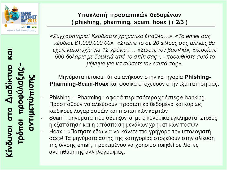 Κίνδυνοι στο Διαδίκτυο και τρόποι προφύλαξης- αντιμετώπισης Υποκλοπή προσωπικών δεδομένων ( phishing, pharming, scam, hoax ) ( 2/3 ) «Συγχαρητήρια! Κε