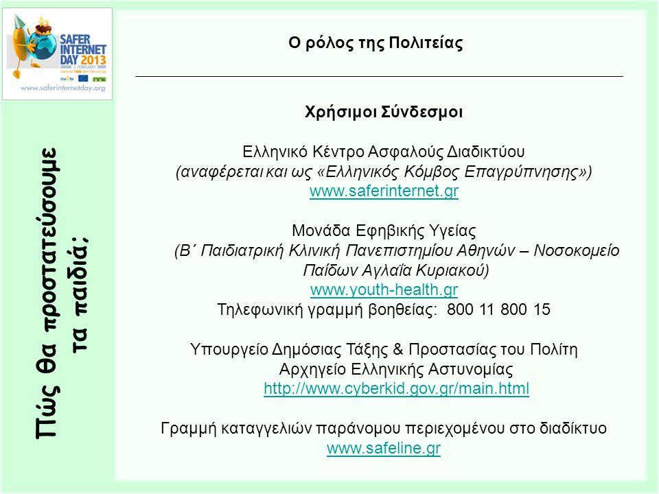 Πώς θα προστατεύσουμε τα παιδιά; Ο ρόλος της Πολιτείας Χρήσιμοι Σύνδεσμοι Ελληνικό Κέντρο Ασφαλούς Διαδικτύου (αναφέρεται και ως «Ελληνικός Κόμβος Επαγρύπνησης») www.saferinternet.gr Μονάδα Εφηβικής Υγείας (Β΄ Παιδιατρική Κλινική Πανεπιστημίου Αθηνών – Νοσοκομείο Παίδων Αγλαΐα Κυριακού) www.youth-health.gr Τηλεφωνική γραμμή βοηθείας: 800 11 800 15 Υπουργείο Δημόσιας Τάξης & Προστασίας του Πολίτη Αρχηγείο Ελληνικής Αστυνομίας http://www.cyberkid.gov.gr/main.html http://www.cyberkid.gov.gr/main.html Γραμμή καταγγελιών παράνομου περιεχομένου στο διαδίκτυο www.safeline.gr
