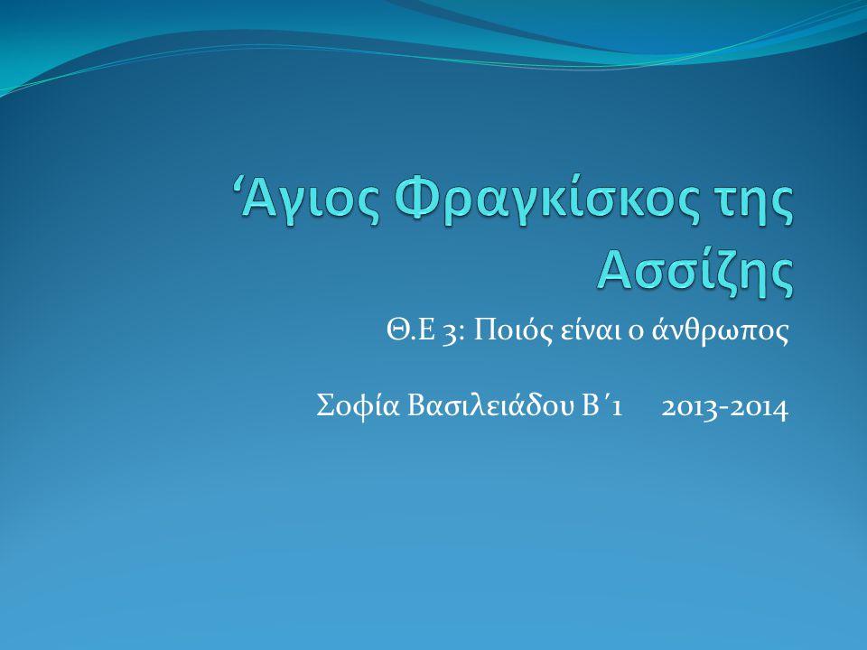 Θ.Ε 3: Ποιός είναι ο άνθρωπος Σοφία Βασιλειάδου Β΄1 2013-2014