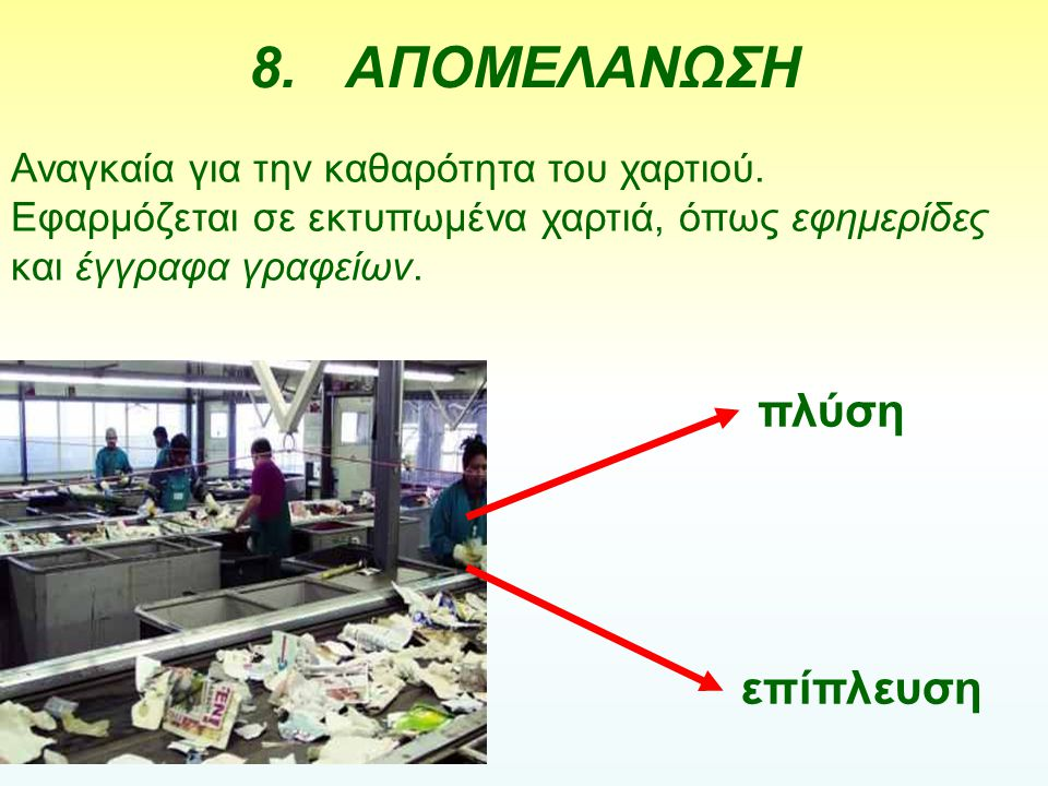 8.ΑΠΟΜΕΛΑΝΩΣΗ Αναγκαία για την καθαρότητα του χαρτιού. Εφαρμόζεται σε εκτυπωμένα χαρτιά, όπως εφημερίδες και έγγραφα γραφείων. πλύση επίπλευση