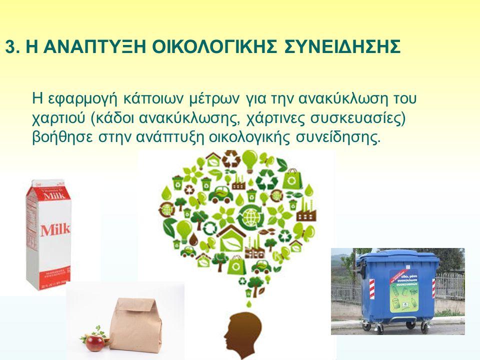 Η εφαρμογή κάποιων μέτρων για την ανακύκλωση του χαρτιού (κάδοι ανακύκλωσης, χάρτινες συσκευασίες) βοήθησε στην ανάπτυξη οικολογικής συνείδησης. 3. Η