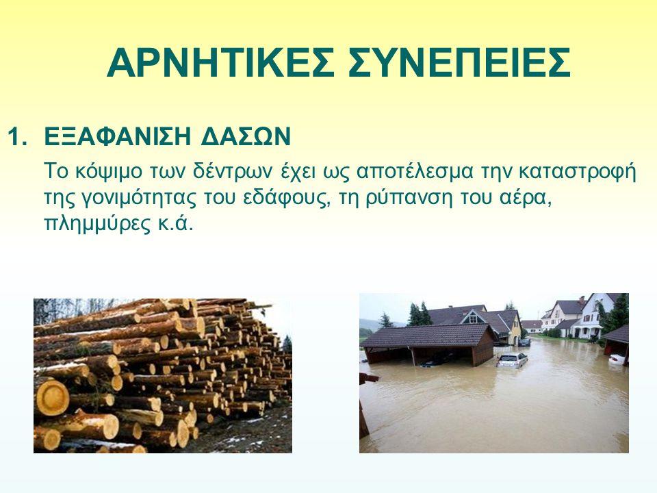1.ΕΞΑΦΑΝΙΣΗ ΔΑΣΩΝ Το κόψιμο των δέντρων έχει ως αποτέλεσμα την καταστροφή της γονιμότητας του εδάφους, τη ρύπανση του αέρα, πλημμύρες κ.ά. ΑΡΝΗΤΙΚΕΣ Σ